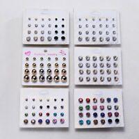 Fashion Women Crystal Rhinestone Pearl Earrings Set Women Ear Stud Jewelry Gifts