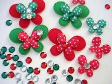 80 Holiday Christmas Felt Butterfly+Rhinestone Applique/red+green/satin dot H307