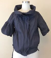 KENNETH COLE NY Women's Charcoal Gray Short Jacket Zip Bubble Sleeves Size 4