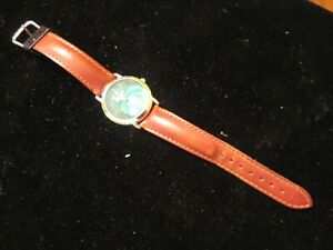 Vintage 1990's FOSSIL Road Trip Watch Green Face for Parts or Repair Leather NR