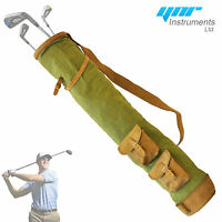 Tan Cowhide Leather Canvas Golf Club Ball Bag Two Pockets H-34inch D-5.5inch NEW