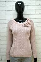 STEFANEL Pullover Donna S Maglione Maglia Cardigan Rosa Sweater Women Lana
