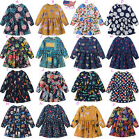 Toddler Kids Baby Girls Long Sleeve Cartoon Floral Princess Dress Outfit Clothes