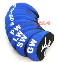 MIZUNO Black & Blue Color Golf Iron HeadCover 10 pcs Set Head Covers Neoprene