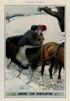 CHRISTMAS YOUNG COUPLE RIDING IN SLEIGH UNDER THE MISTLETOE HORSES REINS BELLS