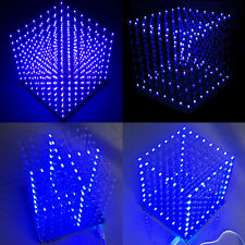 LED Cube Blanc 3D de LightSquared Kit Ray LED Bleu DIY Lumineux Electrique 8*8*8