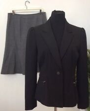 Tahari A.S.L Women's Career Black Gray 100% Wool 2 Piece Skirt Suit Size 10 EUC