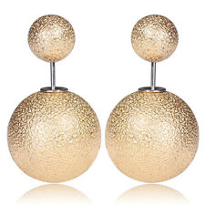 Fashion Jewelry Colorful Double Sided Metallic Beads Two Ball Ear Stud Earrings