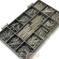 1000 ASSORTED 1.6mm BRIGHT STEEL PANEL PINS TACKS HARDBOARD NAILS VARIOUS LENGTH