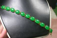 Gold Plate CHINESE Icy Green JADE Cabochon Bead Beads Bangle Bracelet 252589
