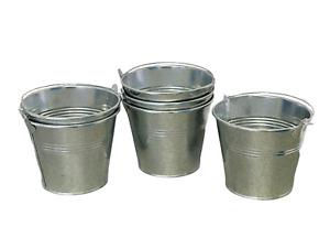 6pcs Large Galvanized Zinc Metal Bucket Tin Pot Garden Flower Planter 11.6x13cm