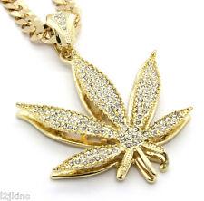 "Mens 14k Gold Plated 30""  Cuban Chain Marijuana Pendant Necklace"