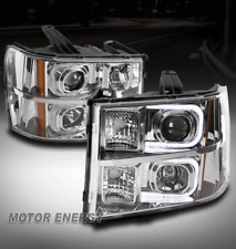 FOR 07-13 GMC SIERRA 1500 OPTIC LED CHROME PROJECTOR HEADLIGHTS LAMP LEFT+RIGHT
