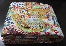 Indian Kantha Quilt Ralli Bedspread Queen Bedcover Cotton Bedspread Throw Beige