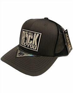 Queen Trucker Hat Embroidered Patch Cap Music Rock Band Gray Retro Snapback