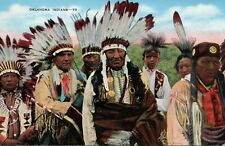 Oklahoma Indian Indians OK Chiefs in head dress Vintage Postcard