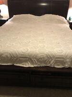 VTG Ecru COTTON Hand Crochet Popcorn Bedspread Coverlet FULL QUEEN Size 98 x 90