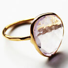 Faceted Semi-Precious Natural Stone Gold Statement Ring - Amethyst Size 7,8 or9