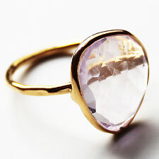Faceted Semi-Precious Natural Stone Gold Statement Ring - Amethyst Size 8