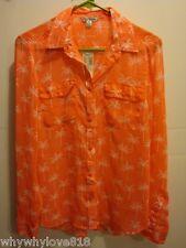NWT Women American Eagle AE PALM TREE SHEER SHIRT Button  Shirt Palm Trees M