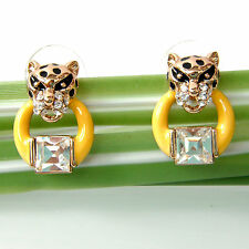 Navachi Cheetah Leopard Head Enamel 18K GP Crystal Earrings Ear Stud BH2176