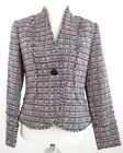 I.E. Sz 4 Plaid Pink, Black, White Single Button Fringe Blazer Jacket MINT!