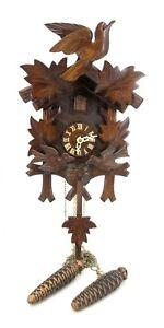 Vintage Black Forest German Cuckoo Clock Dual Bellows Moving Birds