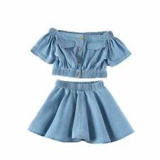 2020 Toddler Kids Baby Girls Outfits Clothes Denim Shirt Tops +Tutu skirt Sets