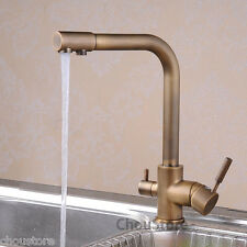 Antique Brass Kitchen Sink Faucet Mixer Tap with Pure Filter Water Spout Supply