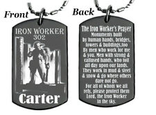 THE IRON WORKERS PRAYER - Dog tag Necklace or Key chain + FREE ENGRAVING