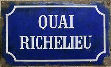 French enamel street sign plaque plate Quai Richelieu river Gironde Bordeaux