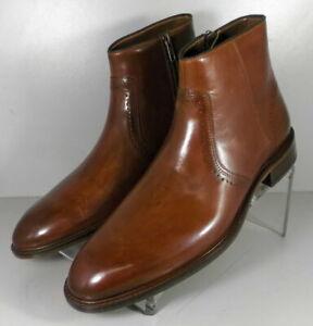 153126 SPBT50 Johnston Murphy SAYER PLAIN TOE Mens Shoes 9 M Tan Leather Boots