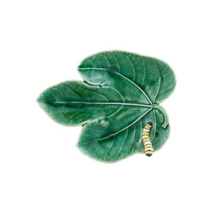Bordallo Pinheiro Fig Leaf With Caterpillar Platter