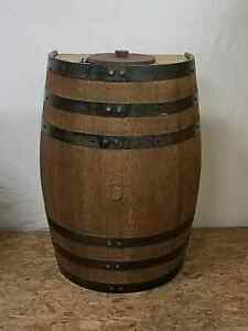 Half Whiskey Barrel Trash Can with Lid and Liner-Kitchen-Game Room-Outdoors-