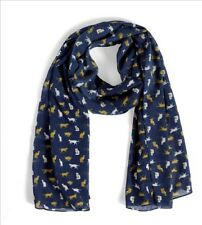 Quintessential Large Soft Luxury Scarf With Cats, In Purr Navy Print 50x180cm
