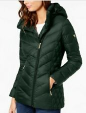 MICHAEL Michael Kors Asymmetrical Hooded Packable Down Puffer Coat, size large
