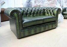 NEW CHESTERFIELD TUFTED BUTTONED 2 SEATER SOFA COUCH REAL VINTAGE GREEN LEATHER