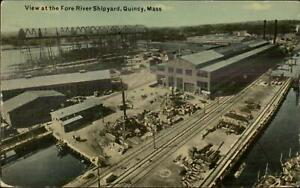 Quincy MA Fore River Ship Yards c1910 Postcard #3