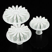 3pcs Fondant Cake Decorating Sunflower Sugarcraft Plunger Cutter Mold Mould FO