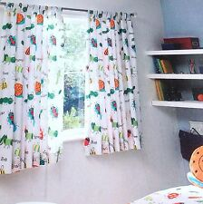 """SALE! BOYS BEDROOM TAB TOP LINED CURTAINS TIE BACKS BUGS SNAILS CRAWLIES 66x54"""""""
