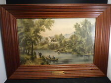 """""""THE RIVER SIDE"""" 1871  VERY RARE Original Medium Lithograph by Currier & Ives"""