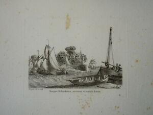 BELLE GRAVURE PAYSAGE MARINE BATEAU VOILIER MILITAIRE BARQUE HOLLANDAISE 1810