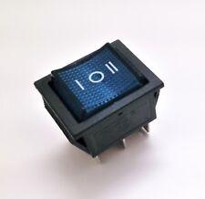 Interruptor Basculante Bipolar - Luminoso - 3 Posiciones - 16A - 250V - Led Azul
