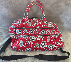 Vera Bradley Red Poppy Large Duffle Houndstooth Lining Deco Daisy Pattern