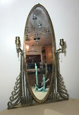antique Oscar Bach bronze Art Nouveau ornate wall dresser console mirror sconce