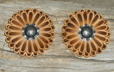 ** 1 1//4 INCH**BROWN LEATHER**ROSETTES**CONCHO** LC 34 LEATHER TOOLS//*** 6