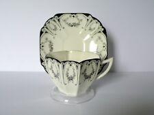 Shelley Queen Anne Black Floral Garland Tea Cup & Saucer Set