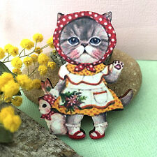 Kawaii Kitty cat wooden brooch Vintage style accessory Wood pin Cute cat badge