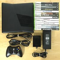 Xbox 360 Slim S 250gb 1439 Console Bundle 1 OEM Controller 14 Games All Tested
