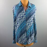 Vintage Howard Wolf Womens Top Blue Crepe Floral Long Sleeve Button Down Size 14